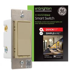 GE Enbrighten Z-Wave In-Wall Smart Switch with QuickFit™ and SimpleWire™, Ivory