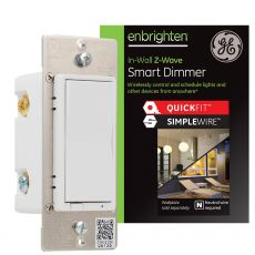 GE Enbrighten Z-Wave In-Wall Smart Dimmer with QuickFit™ and SimpleWire™, White