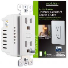 Enbrighten Z-Wave In-Wall Tamper-Resistant Smart Outlet, White