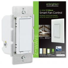 Enbrighten Z-Wave In-Wall Smart Fan Control, White/Almond