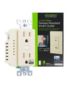 Enbrighten Z-Wave In-Wall Smart Tamper-Resistant Outlet, Light Almond