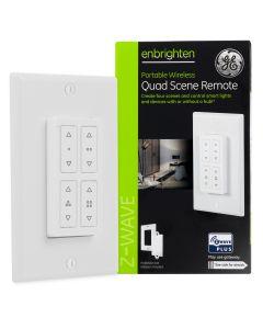 GE Enbrighten Z-Wave In-Wall Portable Quad Scene Remote, White