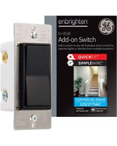 GE Enbrighten Z-Wave Add-On Switch with QuickFit and SimpleWire, Black
