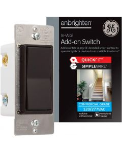 GE Enbrighten Z-Wave Add-On Switch with QuickFit and SimpleWire, Brown