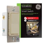 GE Enbrighten Z-Wave Smart Switch with QuickFit™ and SimpleWire™, Light Almond